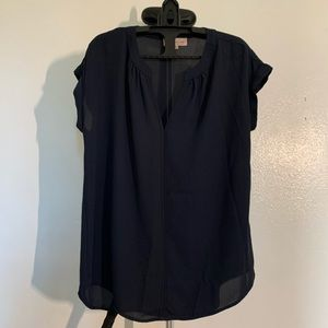Philosophy Navy Blue Short Sleeve Blouse